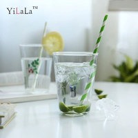 Yilala Summer Fruit Illustration Glass Cup for Juice Water Milk Transparent Cute Pattern 460ML Drinkware