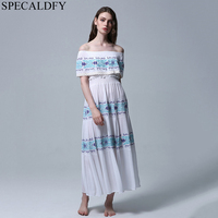 Retro Boho Bohemian Dress Women Embroidery Sexy Off Shoulder Dress Summer Cotton Plus Size Long Maxi Dress Casual Robe Femme