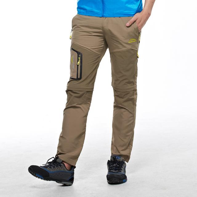 Dos homens do verão calças de secagem rápida na meia calça calças destacáveis calças de sete metros respirável leve L-4XL5XL