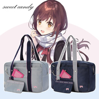 Embroidered bow new Japanese school bag high school student JK uniforms handbag pink printing cute women have a card bag