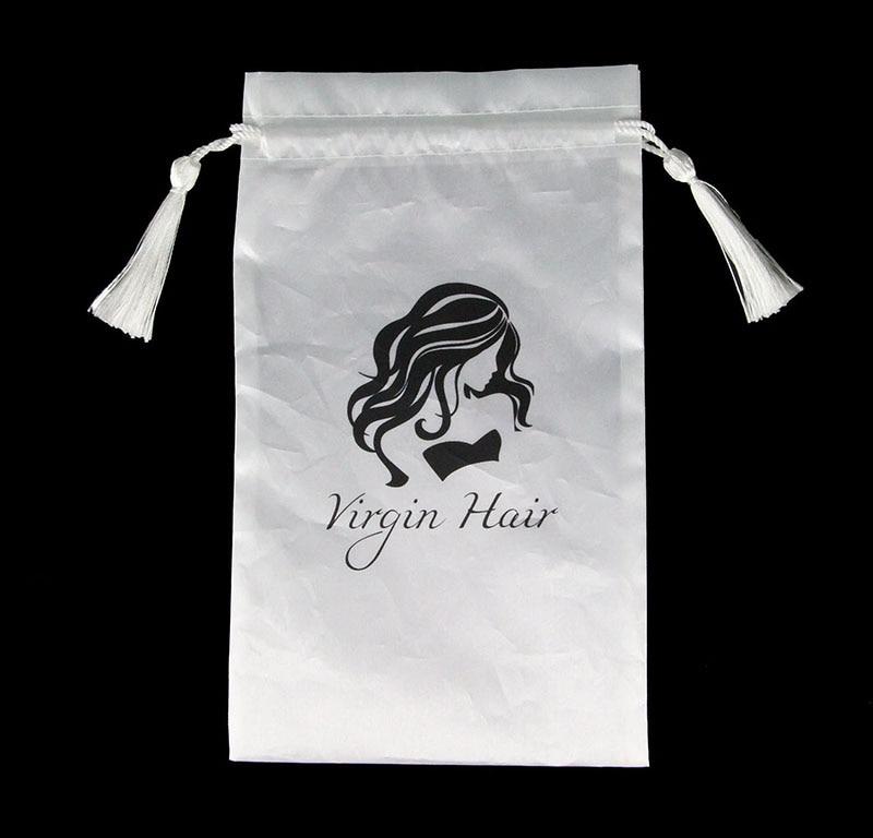 10pcs White Virgin Hair Packaging Bag with Drawstring, Hair Extension Bundles Satin Bag with Tassel