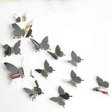 12 pçs/set novas chegam espelho tira borboleta 3d adesivos de parede festa decoração do casamento diy casa decorações adesivos muraux 18oct