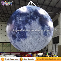 2.5M diameters LED lighting inflatable moon ball promotional hanging decoration blow up balloon type moon replica toys