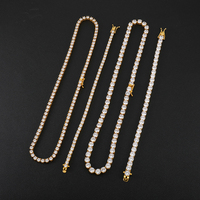 1Set 4/5/6MM 46CM Bling Iced Out Stainess Steel Zircon Tennis Chain Charm link Chain Bracelet Necklace For Men HIP HOP Jewelry