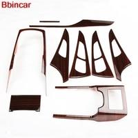 Bbincar Auto Accessories ABS Plastic Wood Paint Interior Trim Central Control Inner Door Bowl 9pcs For Audi A6L A6 L 2012 2015