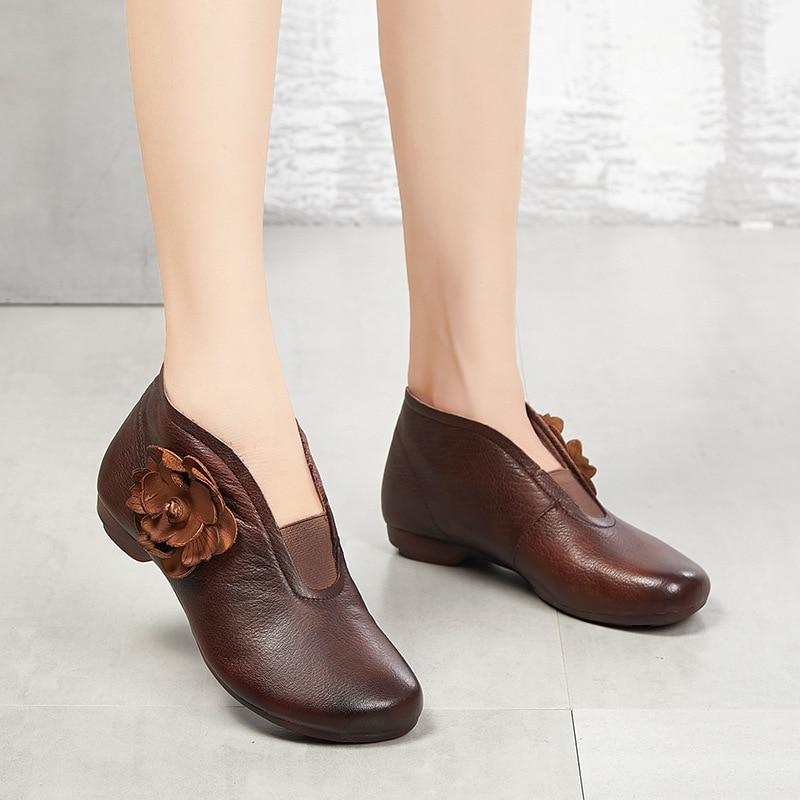Haute Vintage Plat Femmes Chaussures Casual Cuir Sapato En Véritable Mujer forme Plate Qualité Brown Chaishou Zapatos Dames De Appartements IwtYqc