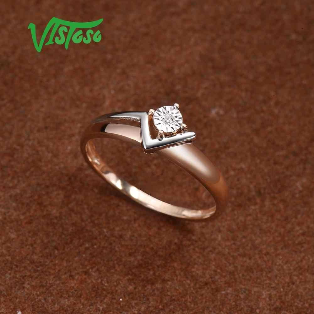 Vistoso純粋な 14 18k 585 2 トーンゴールドスパークリングイリュージョンセット奇跡プレートダイヤモンド女性周年トレンディファインジュエリー