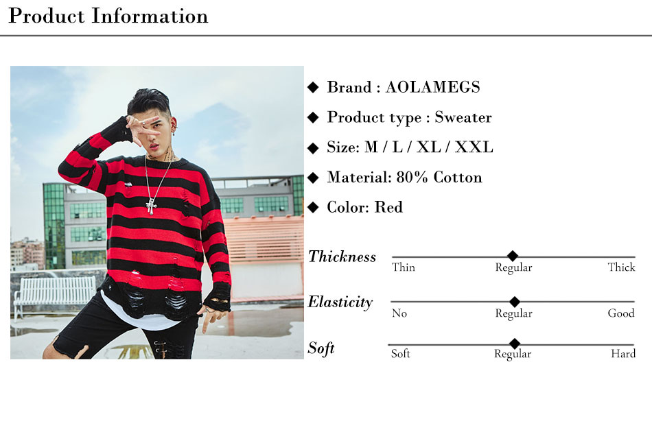 Aolamegs Male Sweatshirt Striped Holes Sweatshirts Pullover Fashion Full Sleeve High Street Streetwear Casual Autumn 2017 Brand (20)