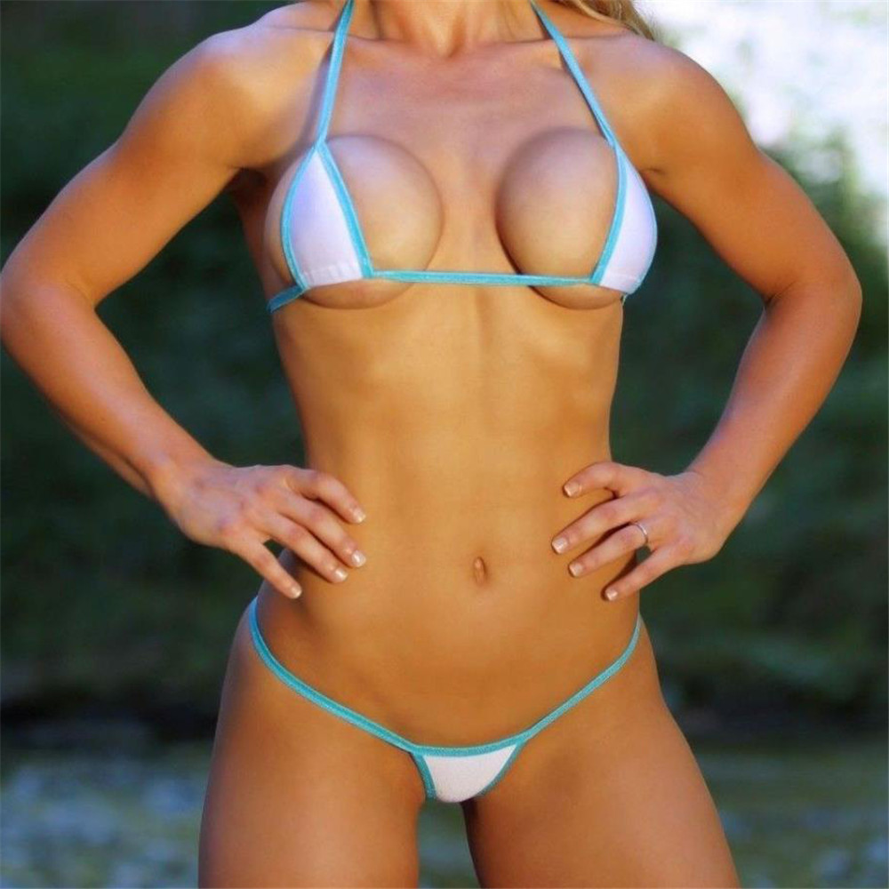 Micro Bikini 2019 Sexy Sling White Triangle Edge Thong Open Back Girl Beach Spa Swimwear Women Swimsuit Biquini Bikinis Monokini
