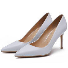 2019 New Spring Woman Pumps Handmade Genuine Leather Shoes Sexy Pointed Toe Mature Office Lady Elegant F0051