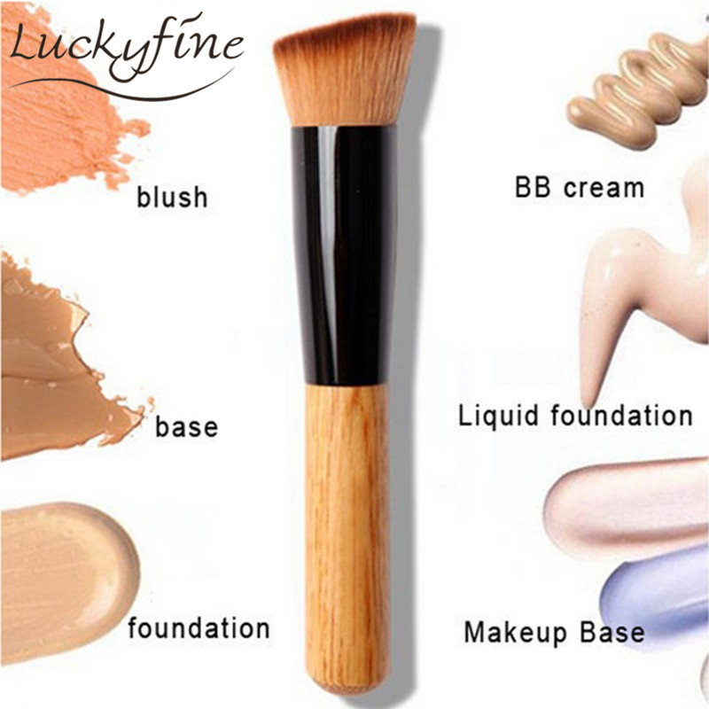 New Powder Oblique Style Brush Wooden Handle Multi-Function Mask Brushes Foundation Makeup Tools Free Shipping