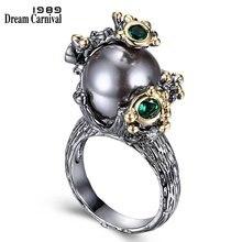 Dreamcarnival 1989 Новое поступление жемчужное кольцо с зеленый