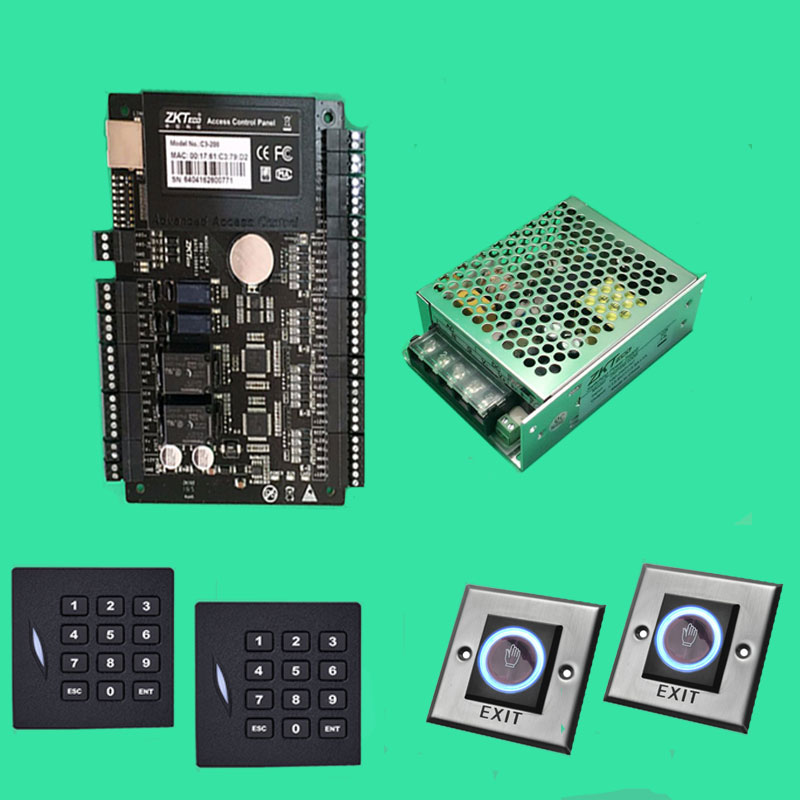 C3 200 Access Control System 2 Door Access Control Panel+12V5A Rriginal Power+Keyapd KR102E rfid Reader+Infrared Exit Button