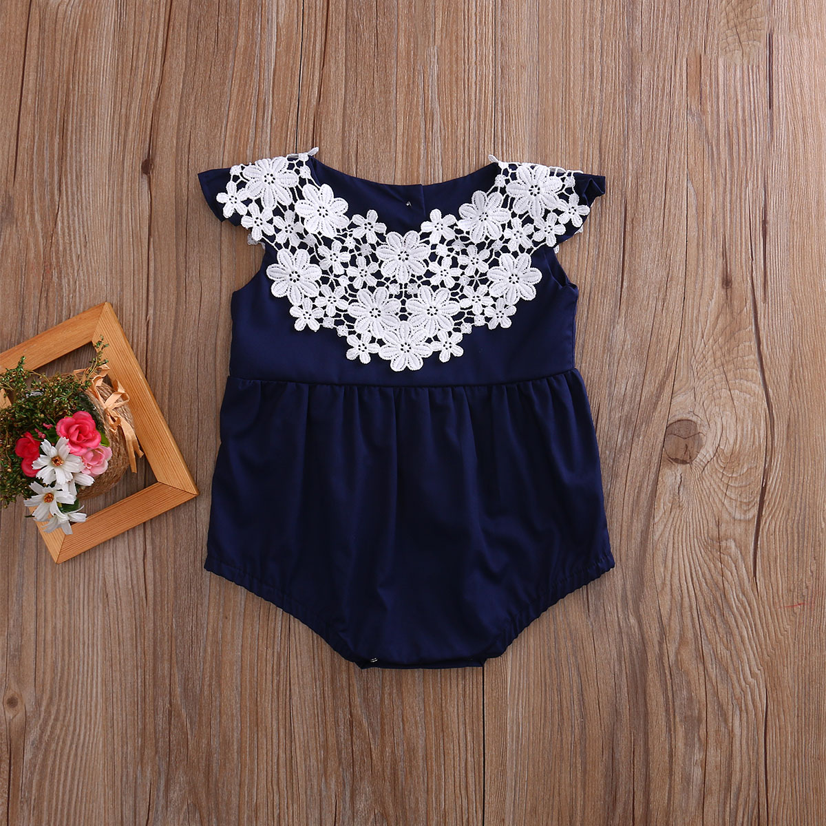 353b2e651 Newborn Baby Girl Lace Stitching Clothes Cotton Romper Navy Blue ...