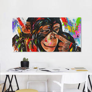 HDARTISAN Vrolijk schilderij Wall Art Picture Canvas Oil Painting Animal Naughty Chimp Print Home Decor No Frame