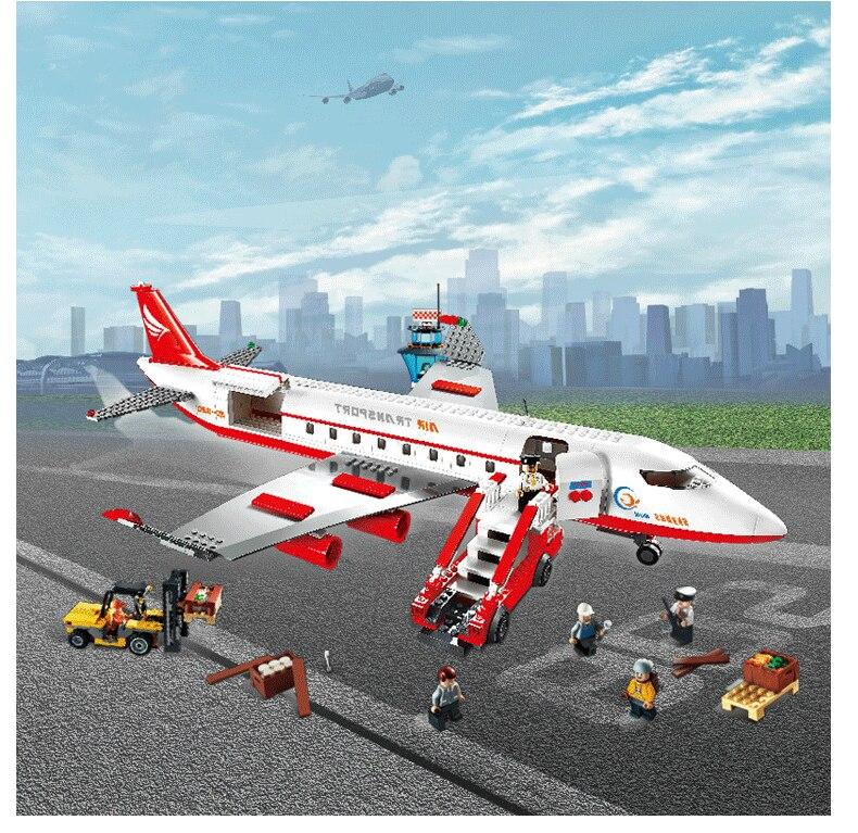 856Pcs 8913 City Air Plane Large Passenger Aircraft Building Block figure Compatible with lego