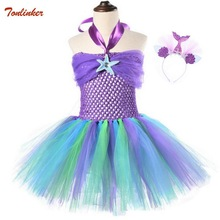 2019 New Kids Rapunzel Costume Mermaid Tutu Tulle Dress With Headdress For Girls Birthday Theme Party Dresses