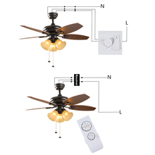 Universal ceiling fan remote control controller switch rf receiver with remote can light and speed control & manual wall switch