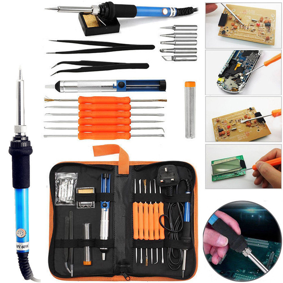 220/110v 60w Adjustable Temperature Electric Soldering Iron Kit+5pcs Tips Portable Welding Repair Tool Tweezers Solder Wire цена