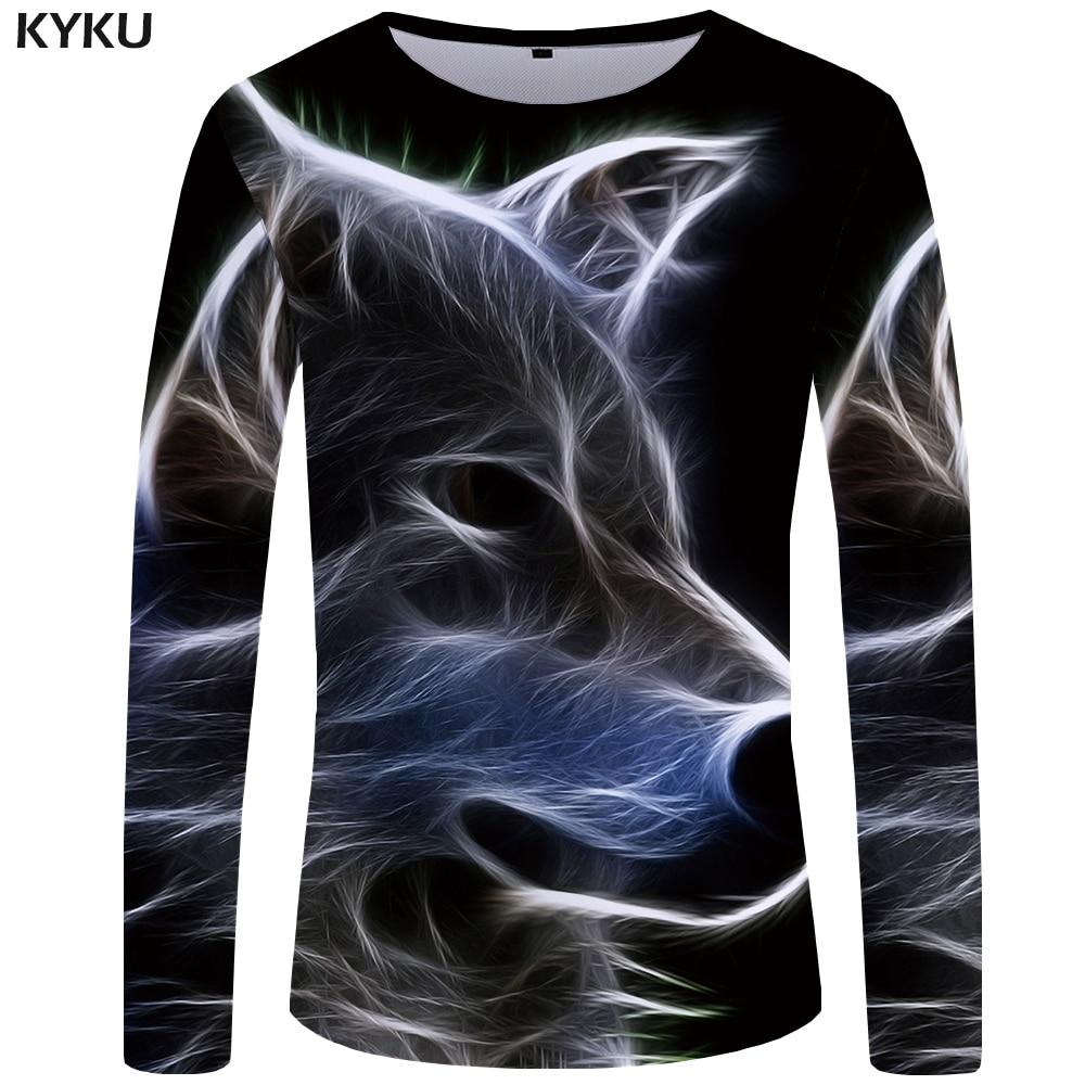 a0ef30cd0 KYKU Wolf T shirt Men Long sleeve shirt Gothic Rock Light Clothes Black  Funny T shirts