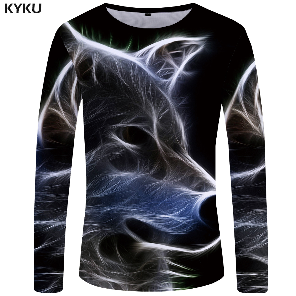 KYKU Wolf T Shirt Men Long Sleeve Shirt Gothic Rock Light Clothes Black Funny T Shirts Animal 3d T-shirt Anime Mens Clothing