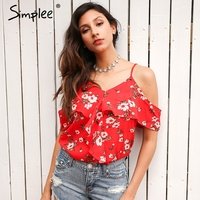 Simplee Ruffles Floral Print Chiffon Camisole Women Sexy V Neck Cold Shoulder Straps Tops Summer Beach