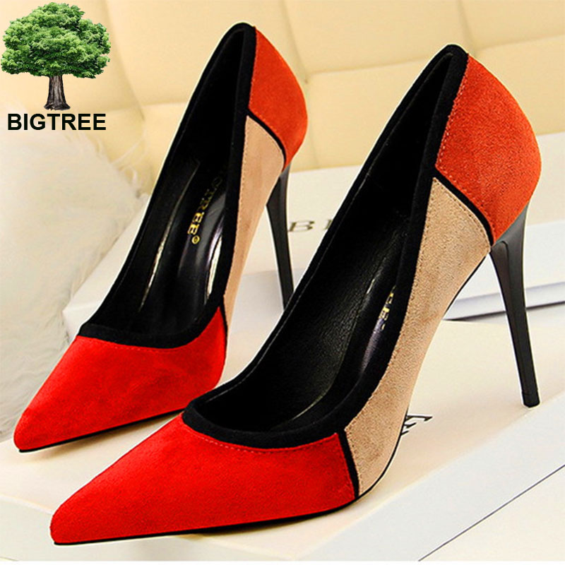 Mixed Colors Wedge Heeled Flock Pointed Toe Office Women Pumps Shoes
