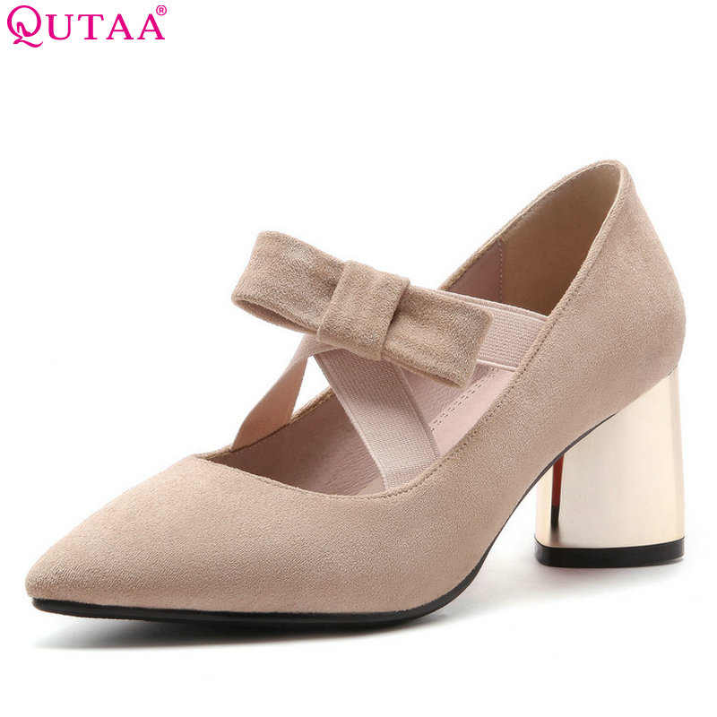 QUTAA 2018 Women Pumps Cow Suede All Match Women Shoes Platform Square High Heel Pointed Toe Beige Women Shoes Size 34-43 qutaa 2018 women ankle boots cow suedezipper fashion pointed toe all match square high heel high quality women boots size 34 39