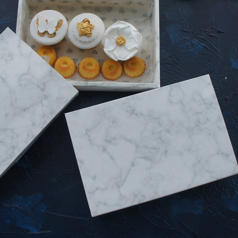 High Quality 25*16.5*5cm 10pcs Marble Design Paper Box  Chocolate Cookie Candy Macarons Snacks Wedding Party Gift  Packing
