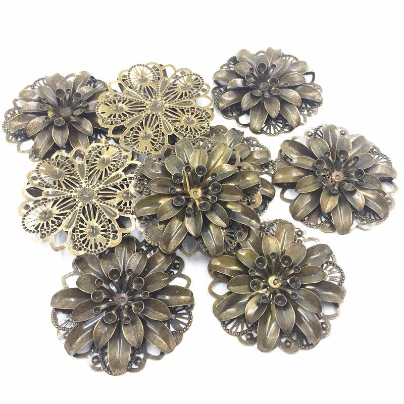 10Pcs Silver Tone Embelishment Flower Plant Filigree Wraps Alloy Classic Jewelry DIY Findings Craft 4.8cm