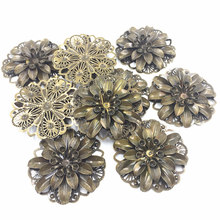 10Pcs Silver Tone Embelishment Flower Plant Filigree Wraps Alloy Classic Jewelry DIY Findings Craft 4.8cm