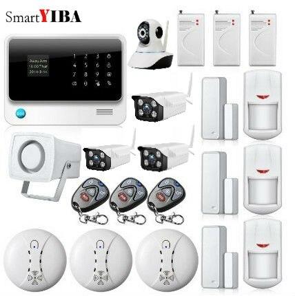 SmartYIBA 8 Wired Zones Home House Office Burglar Intruder Alarm GSM WiFi Alarm +Outdoor/Indoor Network Cameras+Shock Sensor