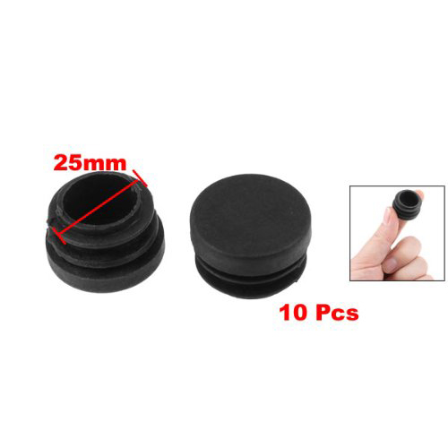 Chair Table Legs 25mm Diameter Plastic Cap Round Ribbed Tube Insert 10 Pcs