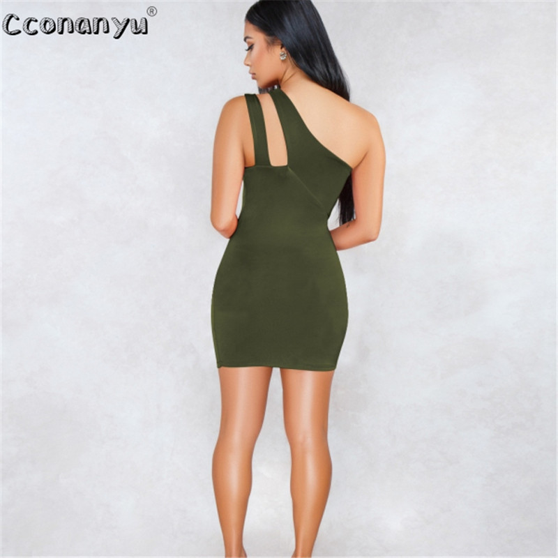 2019 Summer Sexy Backless Solid Hollow Out One Shoulder Bodycon Dress Women Sexy Sleeveless Sheath Evening Party Dress in Dresses from Women 39 s Clothing