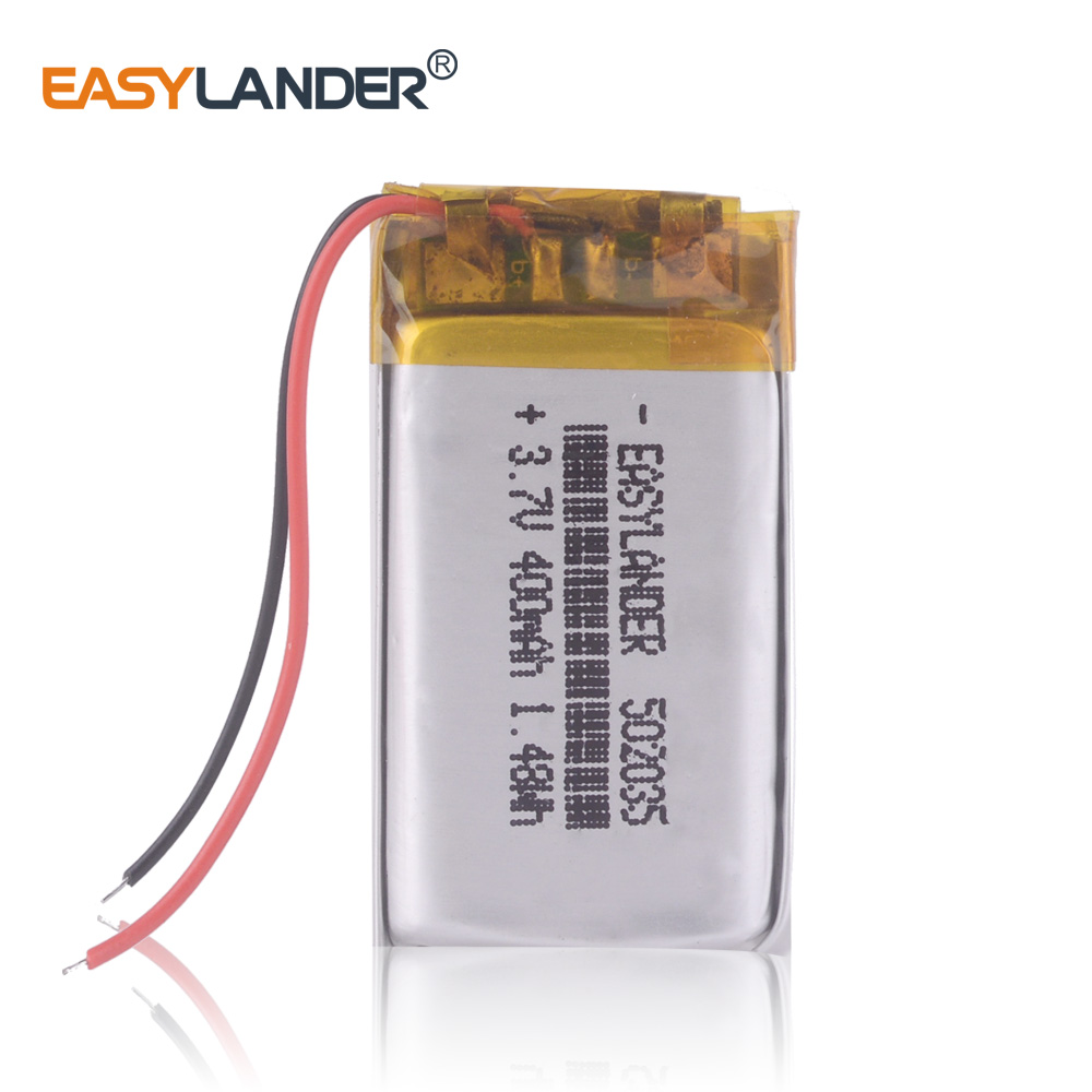502035 <font><b>3.7V</b></font> <font><b>400mAh</b></font> Rechargeable Li-Polymer Battery For mp3 mp4 mp5 toys DVR 052035 502035PL Mini 0801 Ambarella A2S60 image