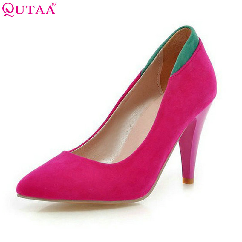 QUTAA Elegant Pointed Toe Ladies Summer Shoes Thin High Heel Woman Pump Mixed Color Flock Women Wedding Shoes Size 34-43 new 2017 spring summer women shoes pointed toe high quality brand fashion womens flats ladies plus size 41 sweet flock t179