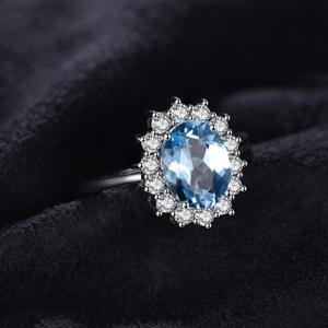 Image 2 - JPalace Princess Diana Genuine Blue Topaz Ring 925 Sterling Silver Rings for Women Engagement Ring Silver 925 Gemstones Jewelry