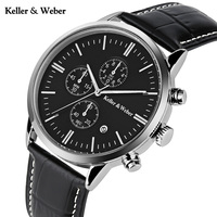 Keller Weber Simple Elegant Men Wrist Watch Modern Casual Date Display Calendar Genuine Leather Band Strap