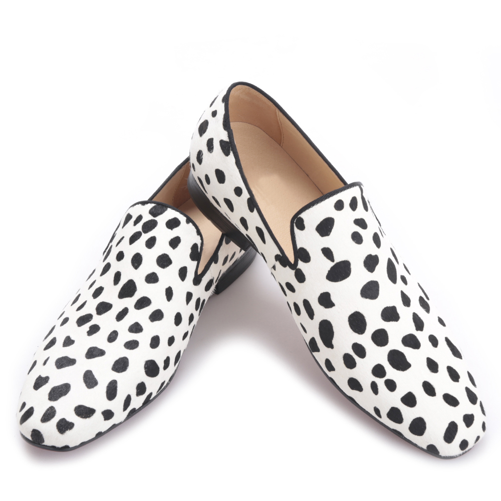 handmade men fashion party and wedding loafers Zebra pattern horse hair men dress shoes Plus size male flats men loafers paint and rivet design simple eye catching is your good choice in party time wedding and party shoes men flats