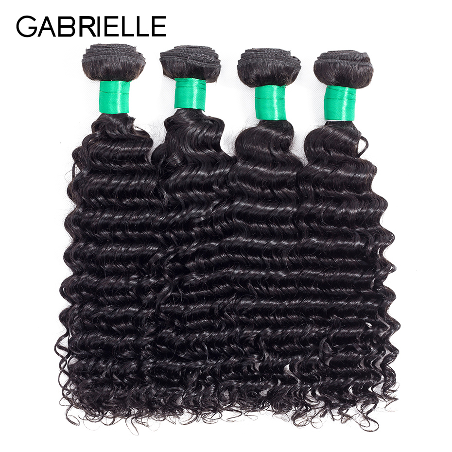 4 Bundles Brazilian deep wave hair bundles deal Gabrielle human hair Weave Bundles Natur ...