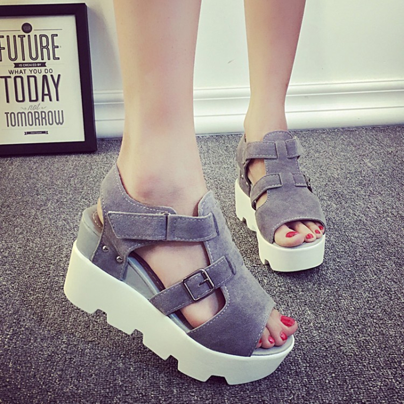 SUMMER STYLE 2017 Platform Sandals Shoes Women High Heel Casual Shoes Open Toe Platform Gladiator Trifle Sandals Women Shoes 2017 summer shoes woman platform sandals women soft leather casual open toe gladiator wedges trifle mujer women shoes b2792
