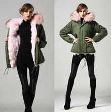 fashion pink big real fox fur collar warm winter parka, real fox liner fur collar coat wholesale price free shipping