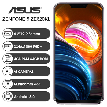 ASUS Zenfone 5 ZE620KL Global Version 6.2″19:9 FHD+2246*1080 Screen Android 8.0 Cellphone Qualcomm Snapdragon 636 4GB 64GB NFC