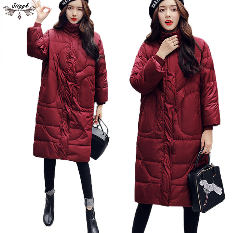 Oversize Winter duck down jackets Women Long down coats parkas thickening Warm Loose High Quality Winter jacket Female LJ530