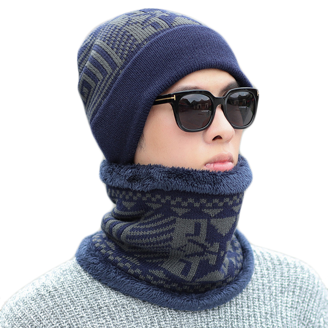 a18c0165 € 8.29 10% de DESCUENTO Sombreros de invierno las mujeres los hombres  sombrero de lana bufanda de hombre grueso cálido gorro Collar 2 piezas de  ...