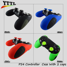 YTTL Thicker Half Skin Cover Soft Silicone Rubber Protective Case for PS4 PRO Slim Controller with ThumbGrip Caps X 2(China)