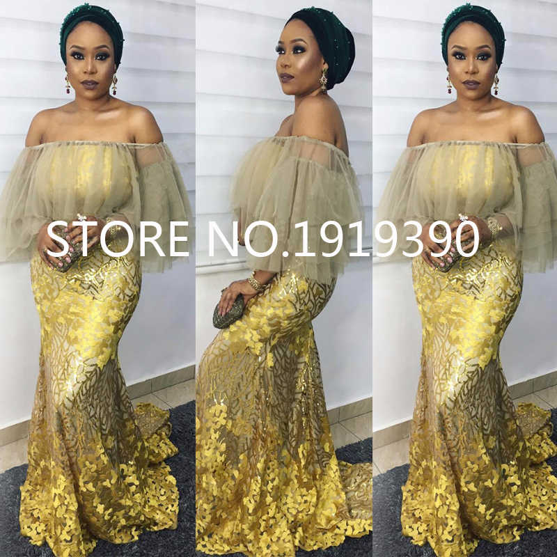 2085062b53a7e African Net Sequins Laces 5yard Latest Nigerian Laces 2019 Gold Colour  Sequin Fabric for Sewing Dress Tulle Lace Fabric M10192