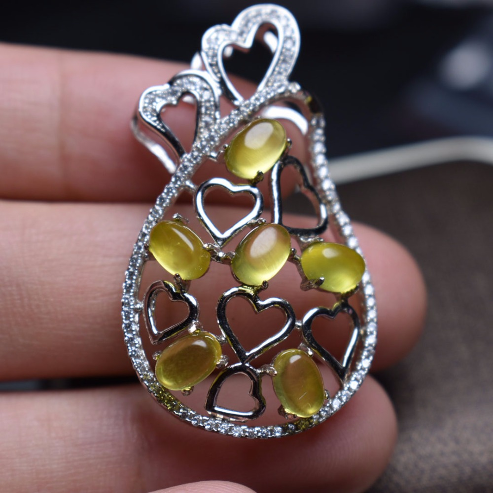 Fine jewelry Real 925 Sterling silver s925 solid silver 100% Natural Prehnite Female Pendant Necklace for women Fine NecklacesFine jewelry Real 925 Sterling silver s925 solid silver 100% Natural Prehnite Female Pendant Necklace for women Fine Necklaces