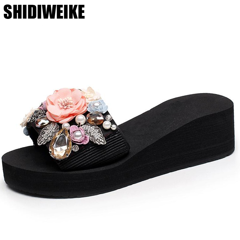 2019 new manual set auger pearl flower slippers female summer fashion wear thick bottom sandals antiskid beach shoes SIZE 35-422019 new manual set auger pearl flower slippers female summer fashion wear thick bottom sandals antiskid beach shoes SIZE 35-42