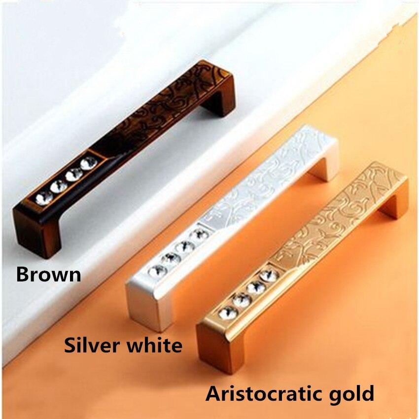 128mm 224mm modern fashion rhinestone furniture decoration handles silver white brown Aristocratic gold wardrobe dresser handles